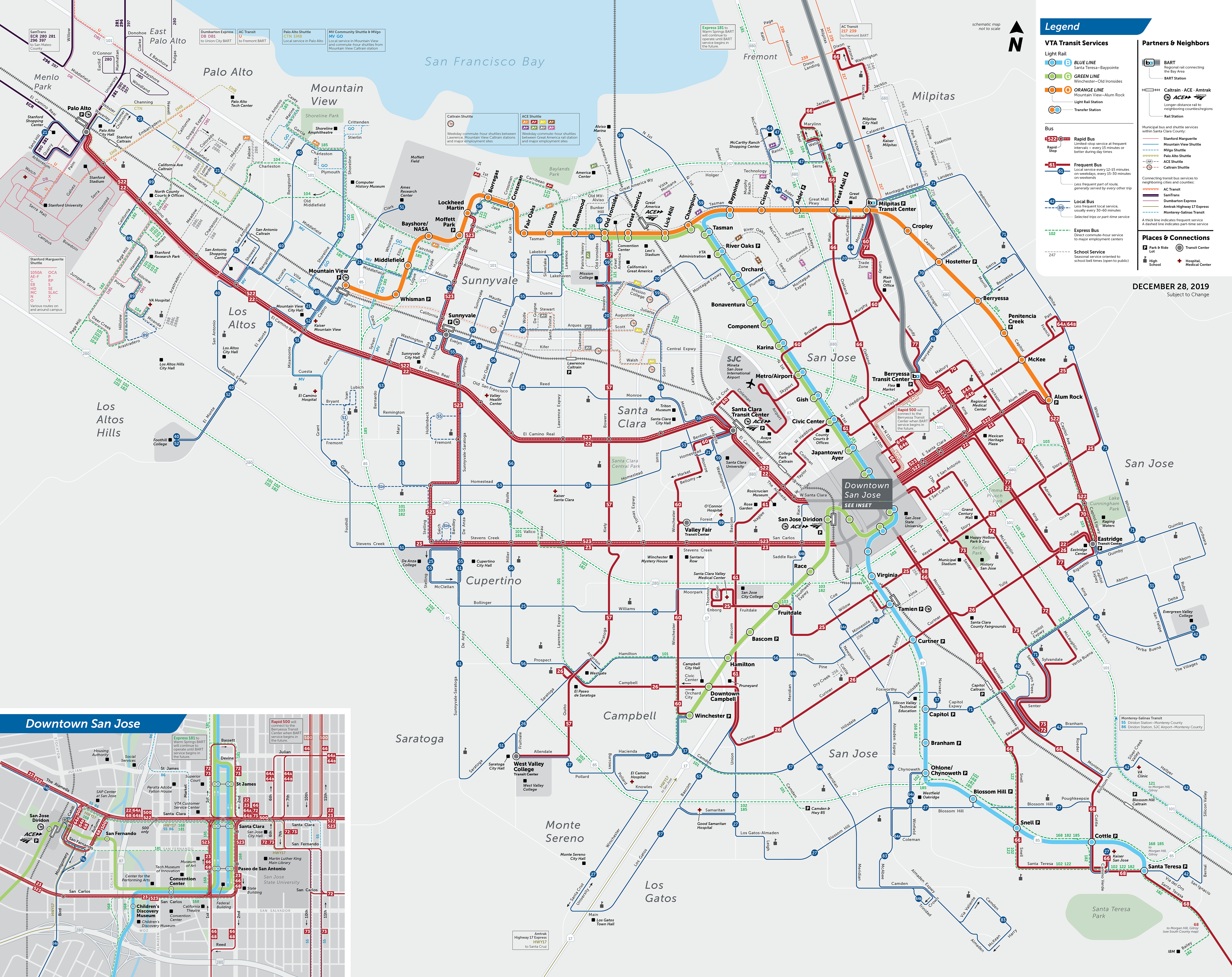 System map showing VTA's New Service